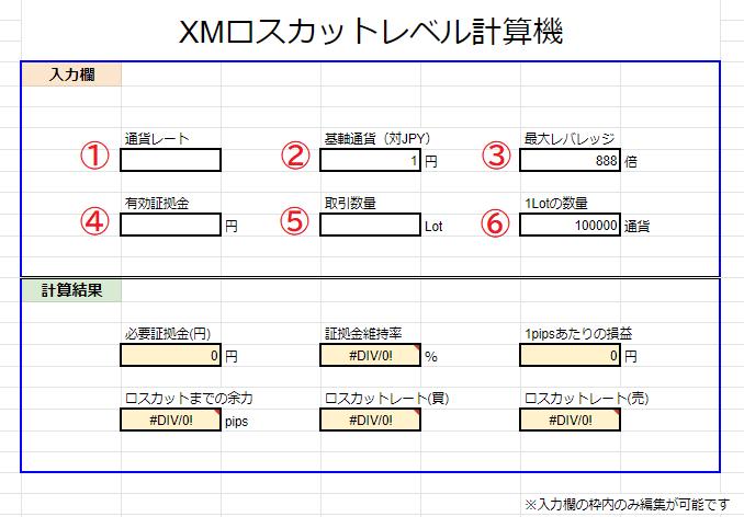 XM ロスカットレート計算機