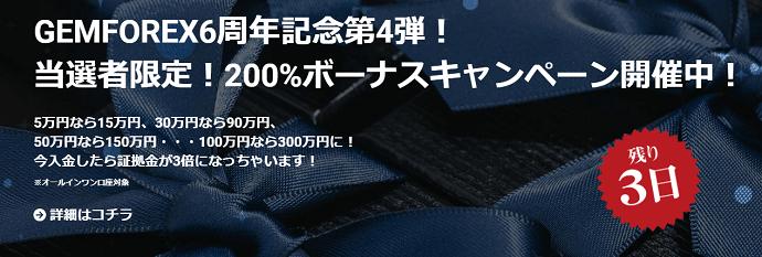 Gemforex口座開設ボーナス2万円